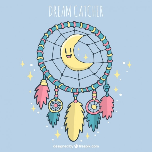 素敵な月と手描きドリームキャッチャーの背景 無料ベクター