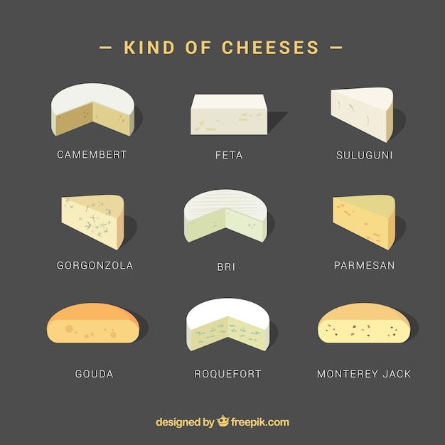 Вид набора сыра, реалистический стиль Бесплатные векторы