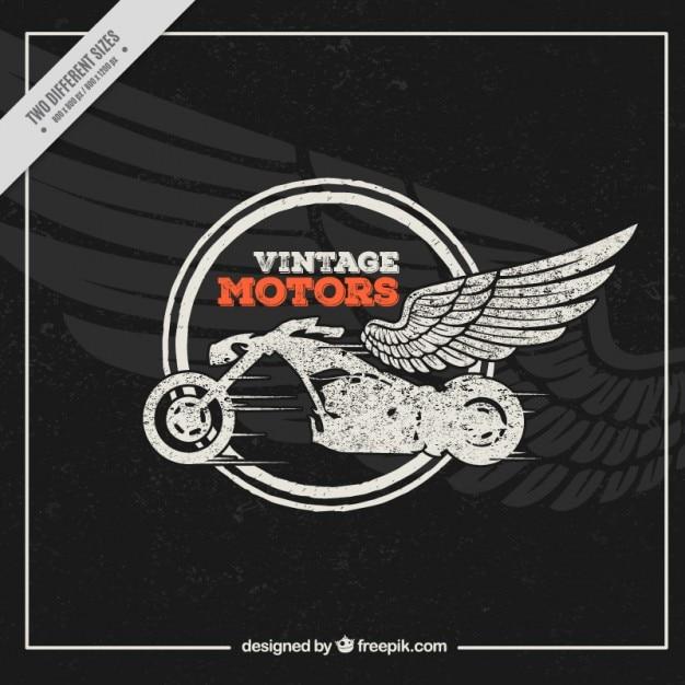 ヴィンテージスタイルで羽の背景とバイク 無料ベクター