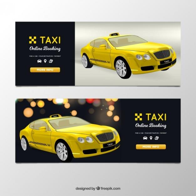 現実的なタクシーとタクシードライバーのバナー 無料ベクター