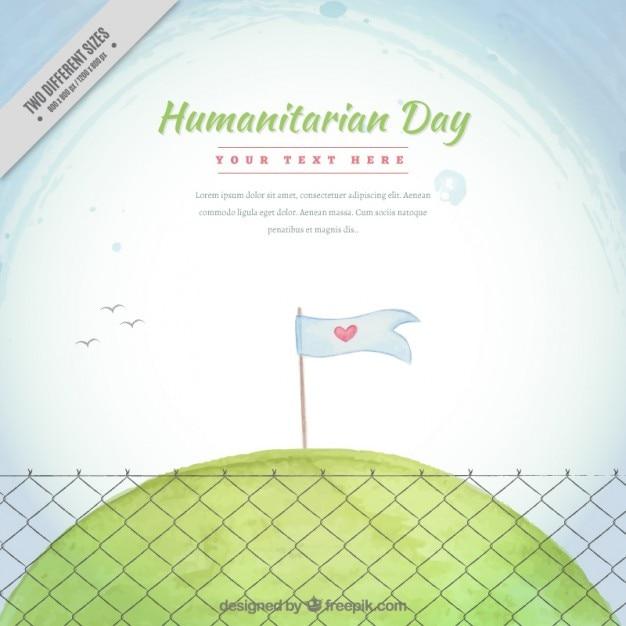 牧草地における平和の旗と手描き人道日間の背景 無料ベクター