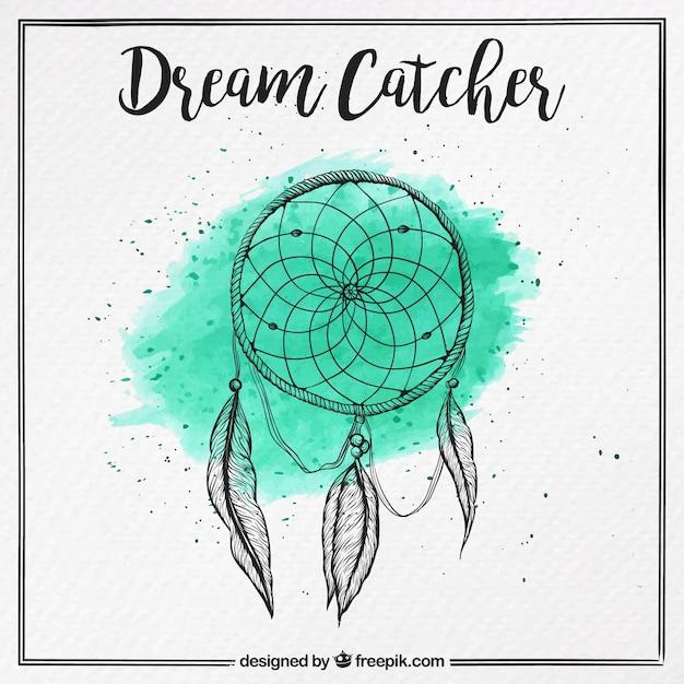 ニースの夢のキャッチャー手描きと水彩画の背景 無料ベクター