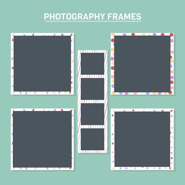 Рамки для фотографий с красочных фонов Бесплатные векторы