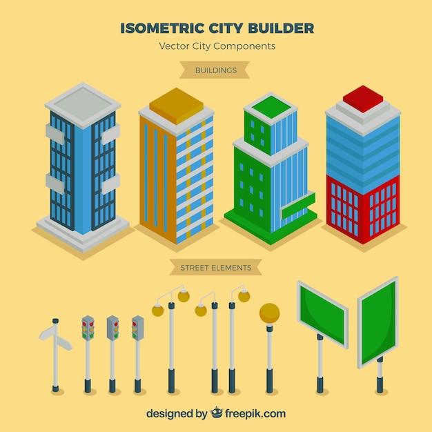 等角図で市の要素 無料ベクター