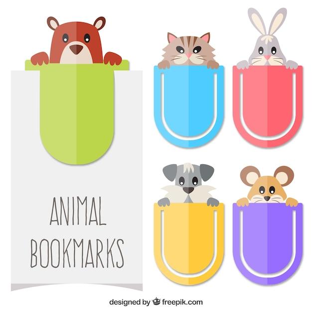 Закладки с темами животных Бесплатные векторы