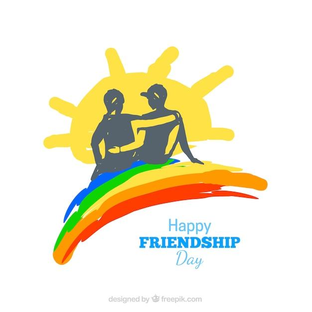 虹と太陽と手描きの友情の背景 無料ベクター