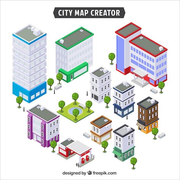 街を作成するための建物のコレクション 無料ベクター