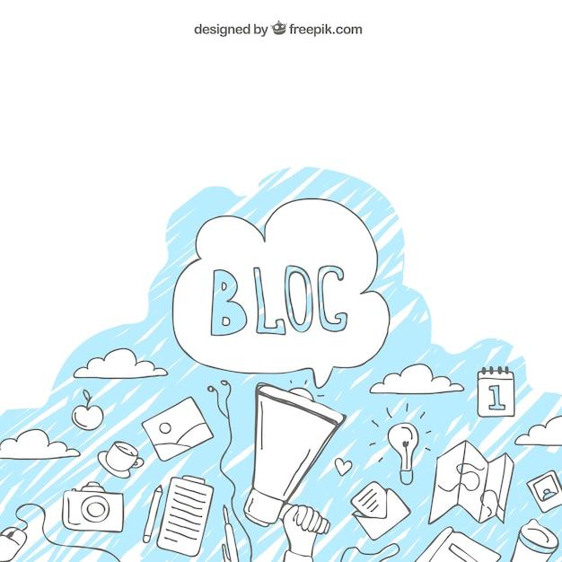 ブログのスケッチと背景 無料ベクター