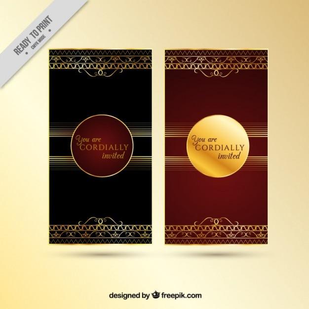 Красивый красный и золотой приглашение Бесплатные векторы