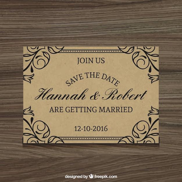 Элегантный свадебное приглашение деревенский стиль Бесплатные векторы