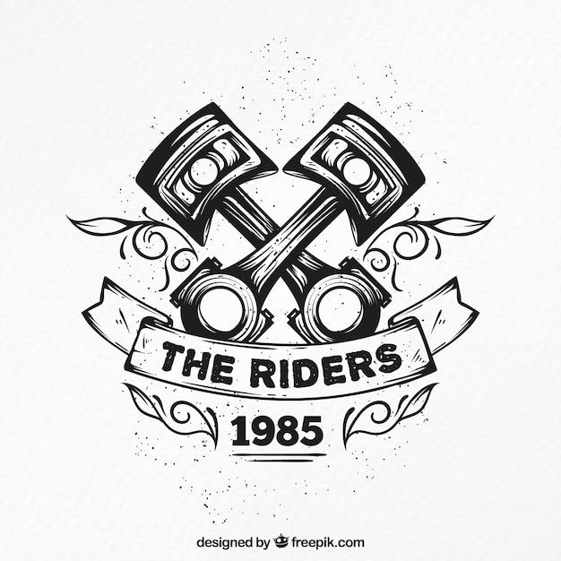 手描きの装飾的なバイクのバッジ 無料ベクター