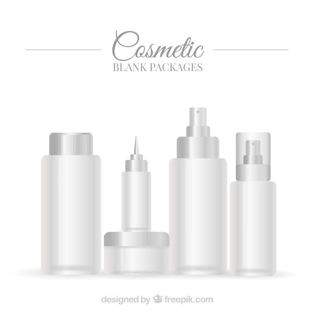 白の美しさの製品パッケージのセット 無料ベクター
