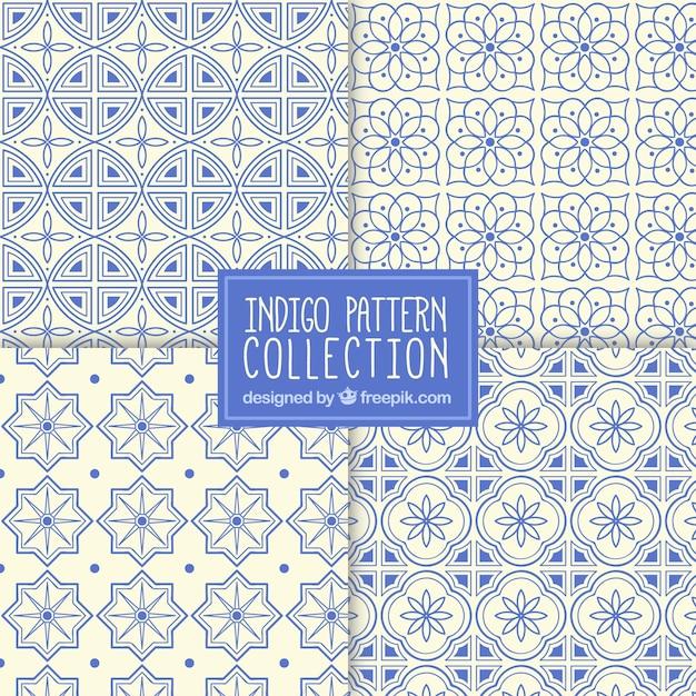 青い色の装飾用のモザイクパターンのコレクション 無料ベクター