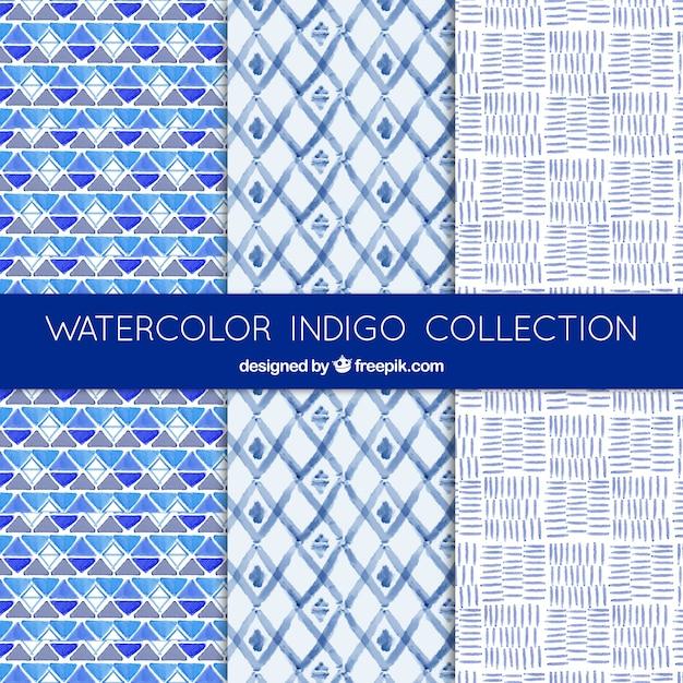 抽象的な形の美しい青い水彩パターン 無料ベクター