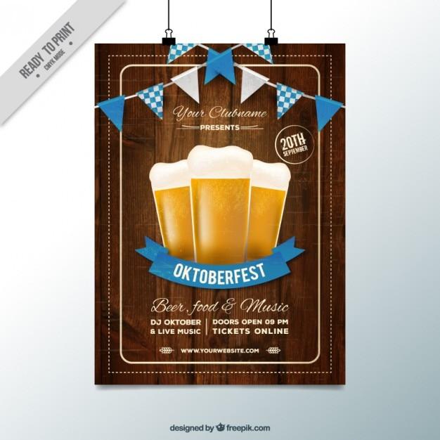オクトーバーフェスト祭りのための木製のポスター 無料ベクター