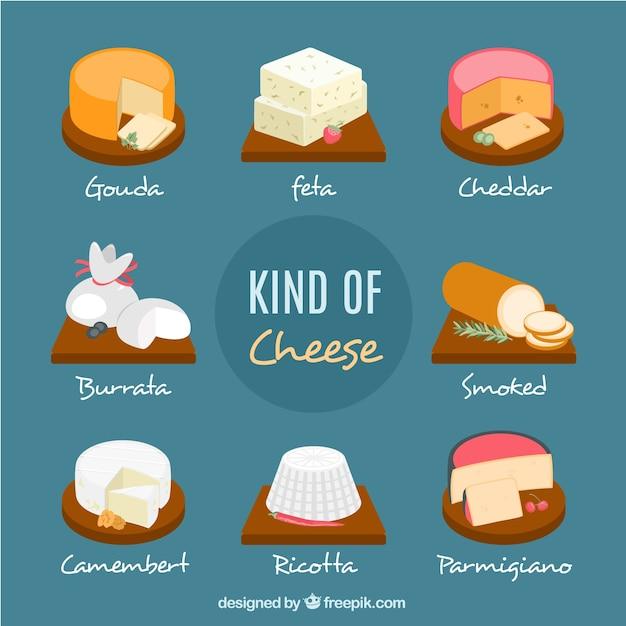 Набор вкусных сыров Бесплатные векторы