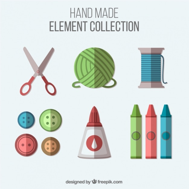 フラットデザインの縫製品や工芸品のアイテム 無料ベクター