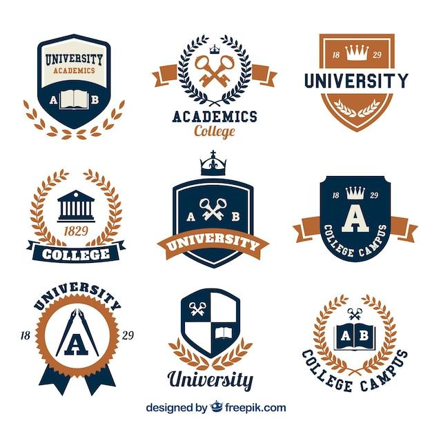 大学のためのロゴの選択 無料ベクター