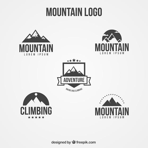 フラット山のセットロゴ 無料ベクター