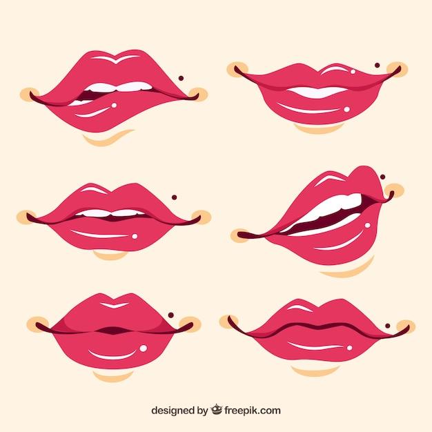 Рисованной красивые губы комплект Бесплатные векторы