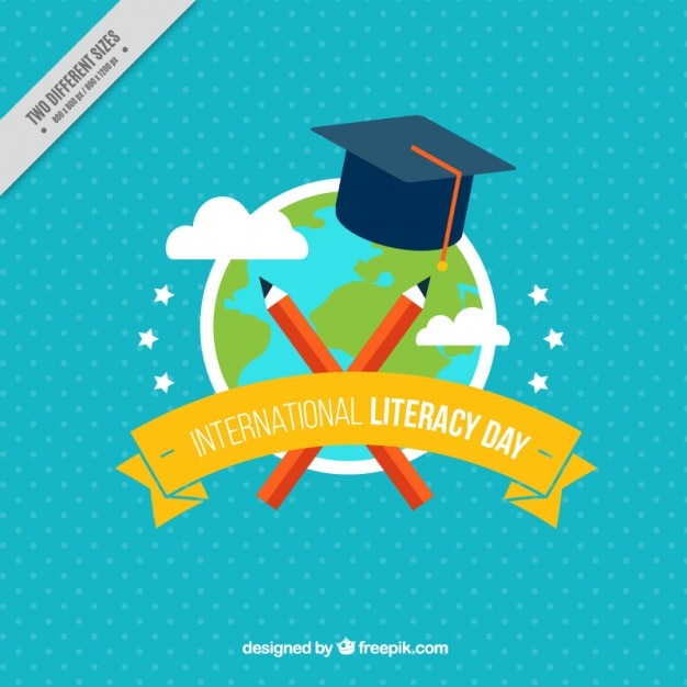 Голубой фон мировых и мастерок на международный день грамотности Бесплатные векторы