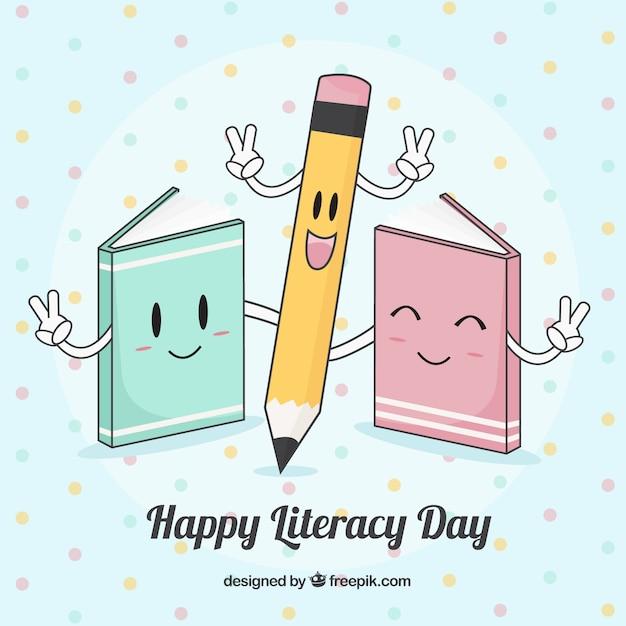 Красивый фон счастливый день грамотности Бесплатные векторы