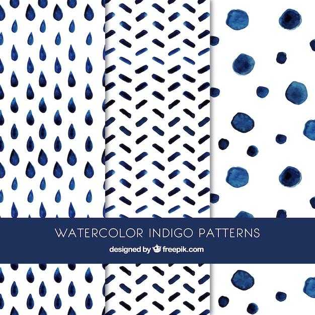 かわいい藍パターン 無料ベクター