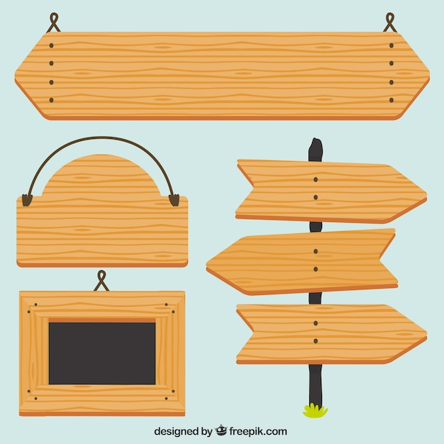フラット木製看板 無料ベクター