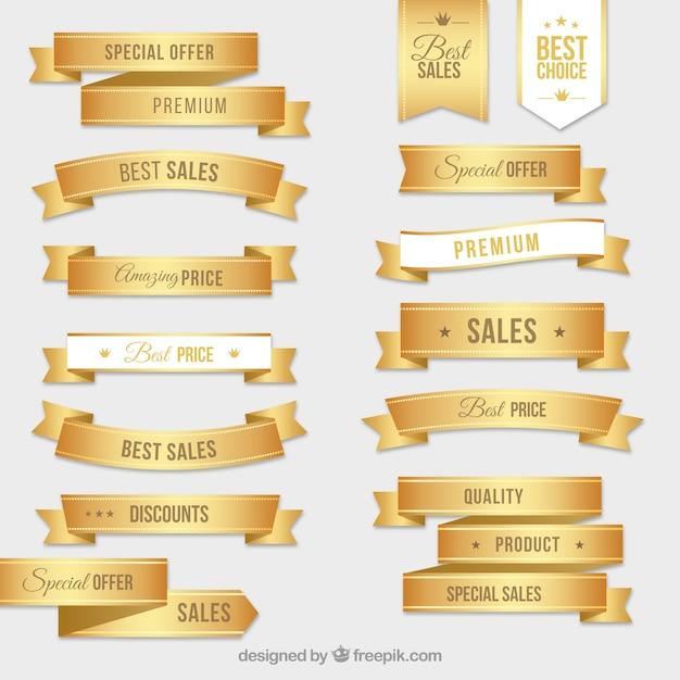 金色のラベルのコレクション 無料ベクター
