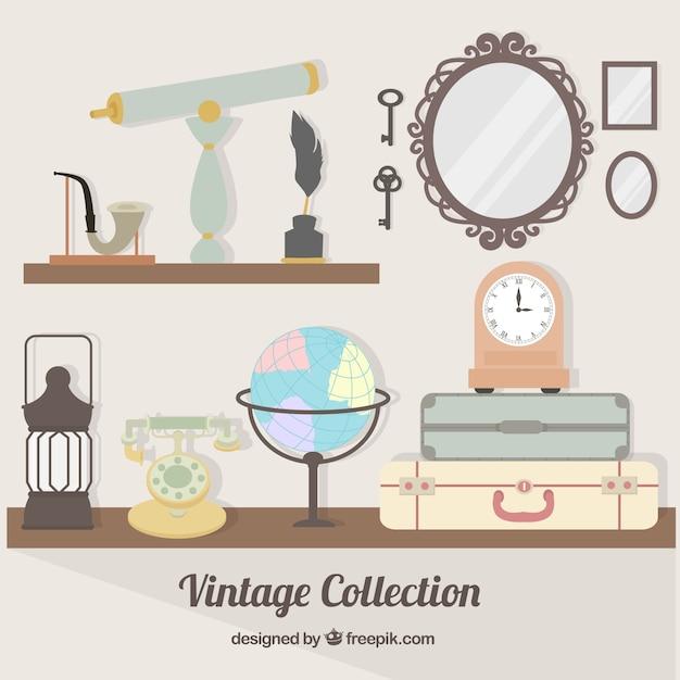アンティークオブジェクトのコレクション 無料ベクター