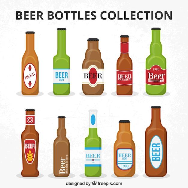 ラベル付きのビール瓶コレクション 無料ベクター