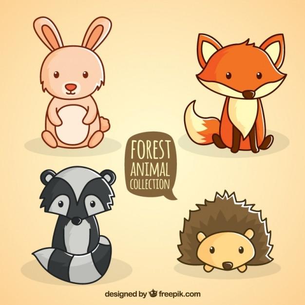 手描き森林座っ動物コレクション 無料ベクター