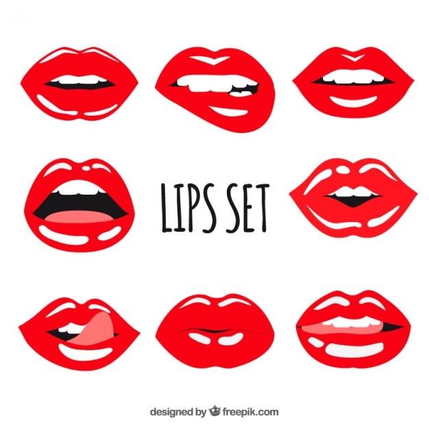 Набор красных губ с блеском Бесплатные векторы