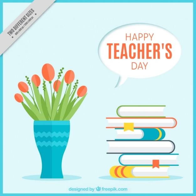 花瓶や本で先生の日の背景 無料ベクター