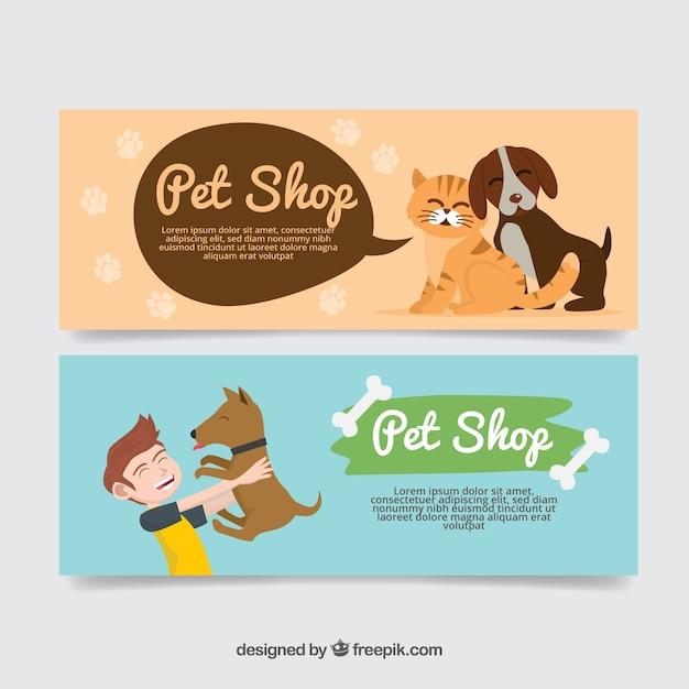 Хорошие баннеры с животными Бесплатные векторы