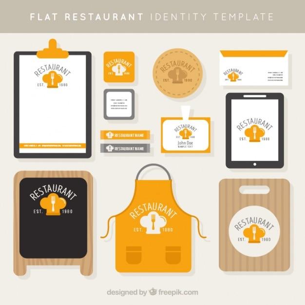 Фирменный стиль для ресторана в плоском стиле Бесплатные векторы