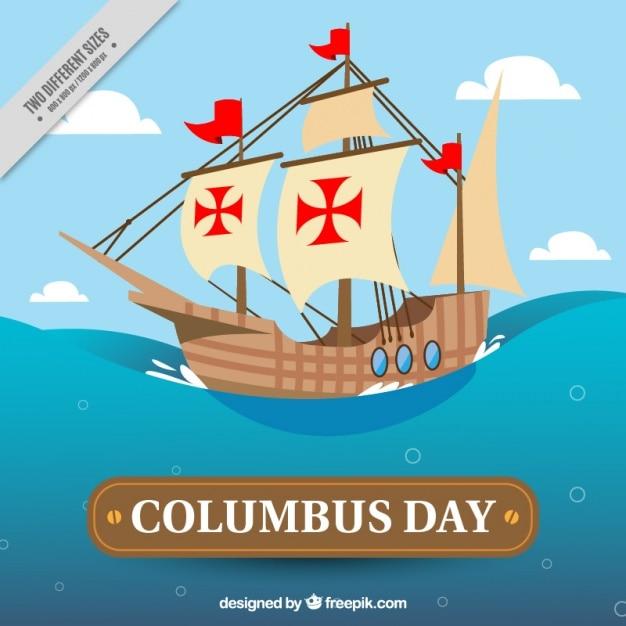 コロンブスの日のカラベルと背景 無料ベクター