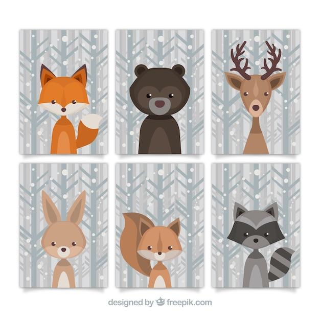 ヴィンテージスタイルの森林動物のラブリーコレクション 無料ベクター