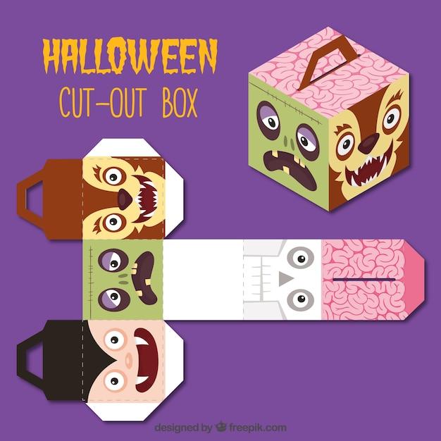 ハロウィーンの文字を切り取りボックス 無料ベクター