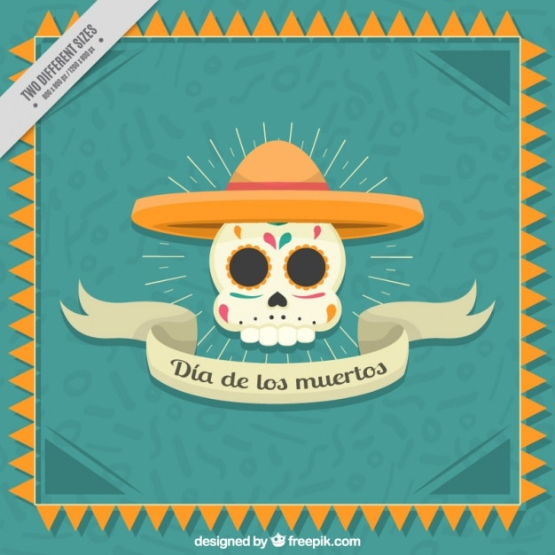 Плоский фон с красивым мексиканским черепа Бесплатные векторы