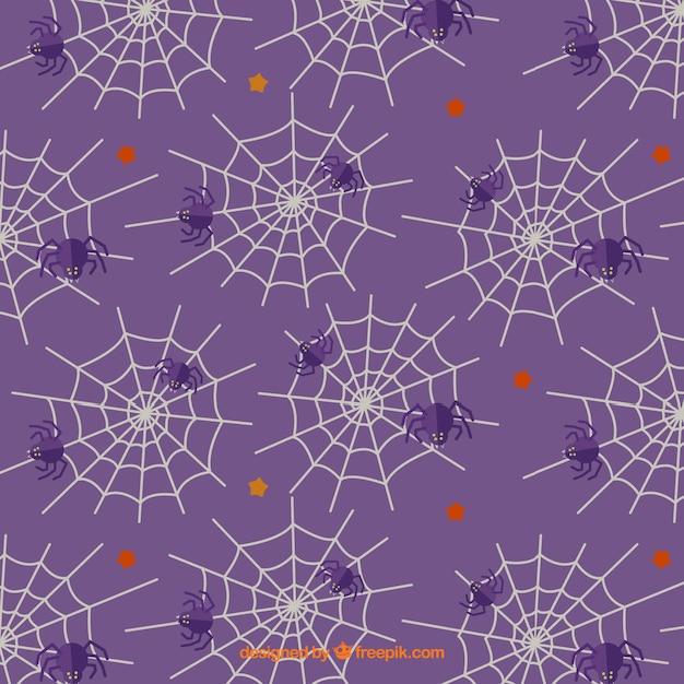 Фиолетовый узор с паутиной и пауков Бесплатные векторы