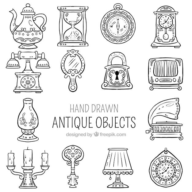 アンティーク手描きオブジェクトのコレクション 無料ベクター