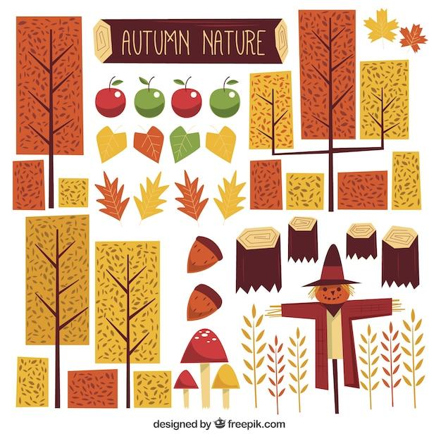 幾何学的な秋の要素の大集合 無料ベクター
