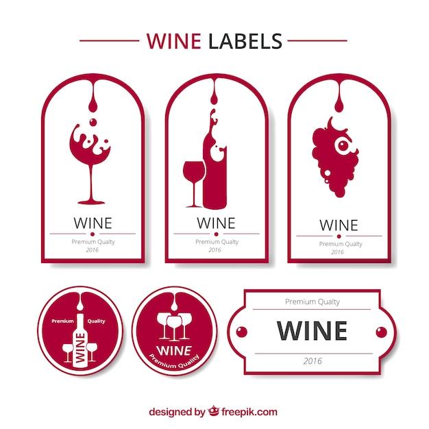 赤と白ワインのラベルコレクション 無料ベクター