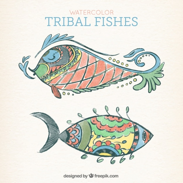 エスニック風の手描きの魚 無料ベクター