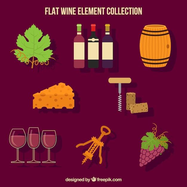 ワインの要素のグレートフラットコレクション 無料ベクター
