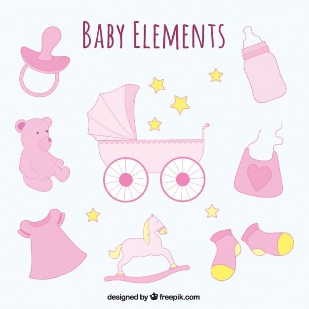 手描きの赤ちゃんセットオブジェクト 無料ベクター