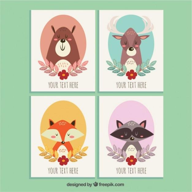 手描き美しい動物とのいくつかのかわいいカード 無料ベクター