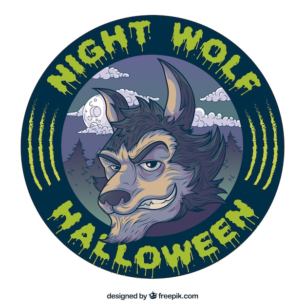 野生のオオカミラウンドハロウィーンラベル 無料ベクター