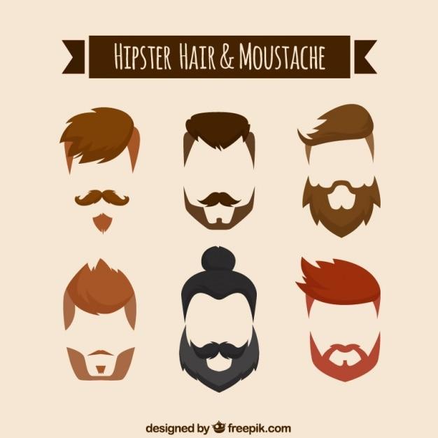 ヒップスタースタイルで髪と口ひげ、あごひげ 無料ベクター